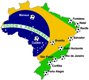 Map of Brasil 2014 World Cup